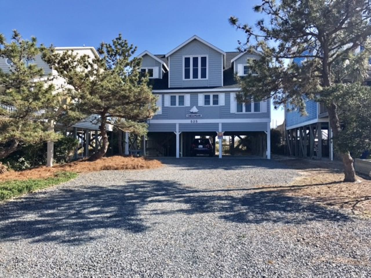 Front of Home.  Beautiful Nantucket gray magical beach home!