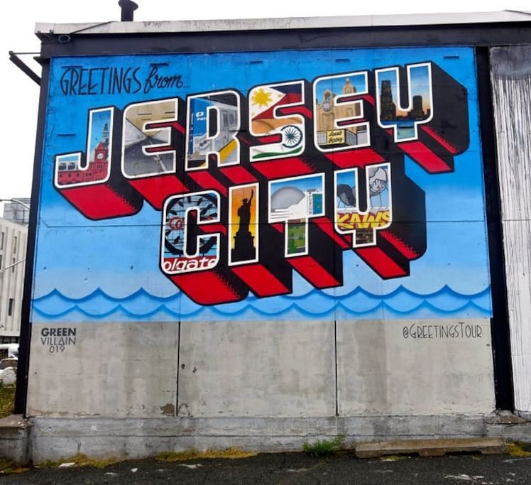 "Greetings from Jersey City!  Street art, sponsored by the Jersey City Mural Arts Program - ""transforming Jersey City into an outdoor art gallery."""
