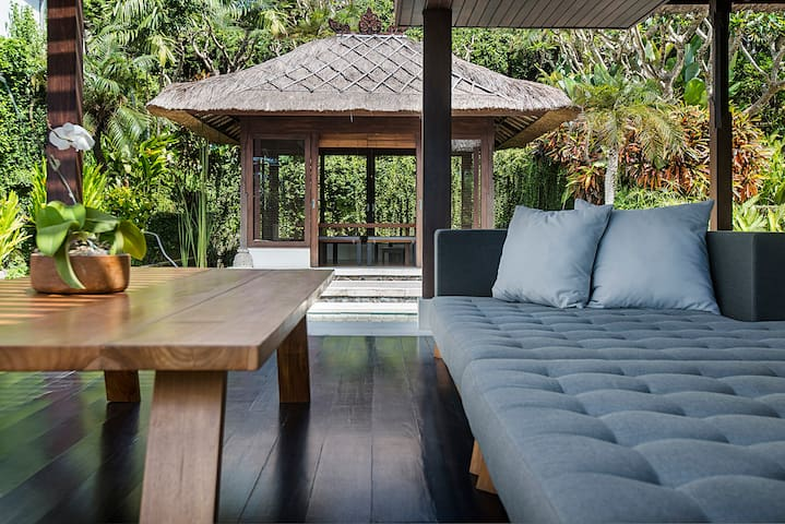 living area with garden pavilion