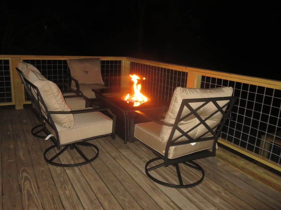 The propane fire pit sure lights up the night!