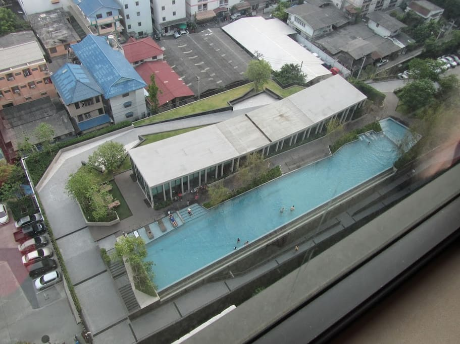 view from bedroom window: swimming pool facility