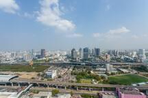 Horizon view from rooftop garden