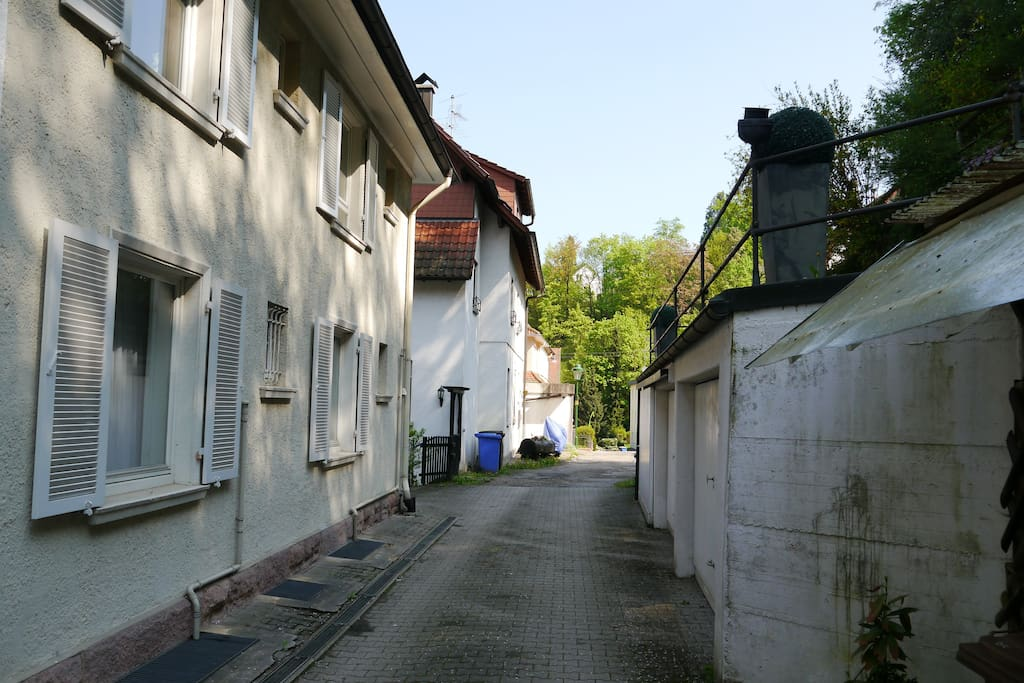 The Dimpfelbachstrasse in front of the house.