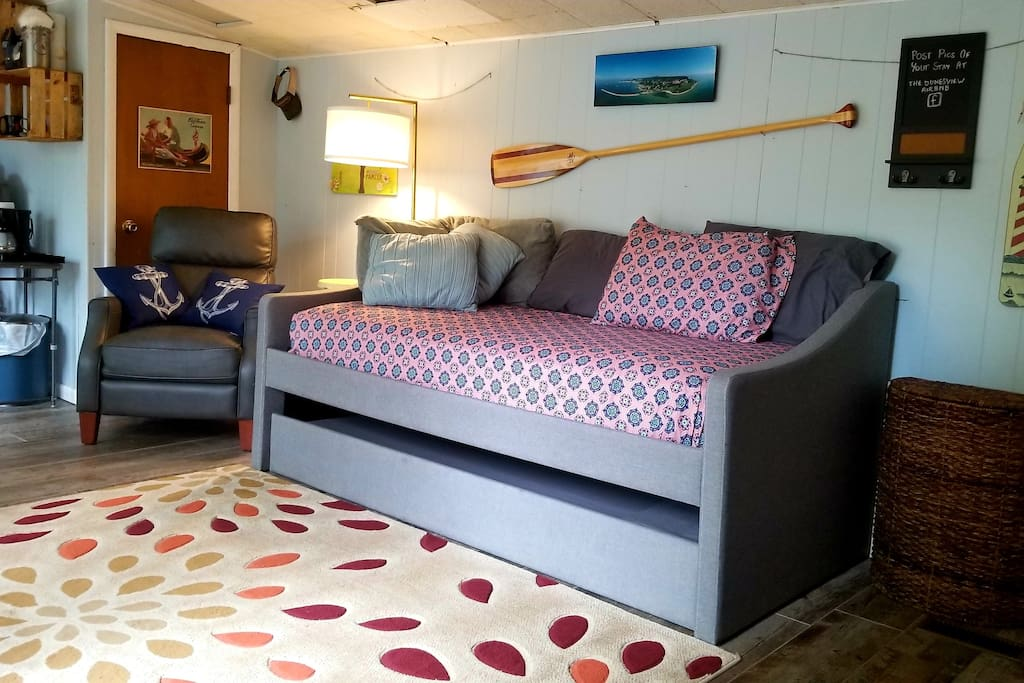 Welcome!  Twin trundle beds (full size floor mattress available upon request)