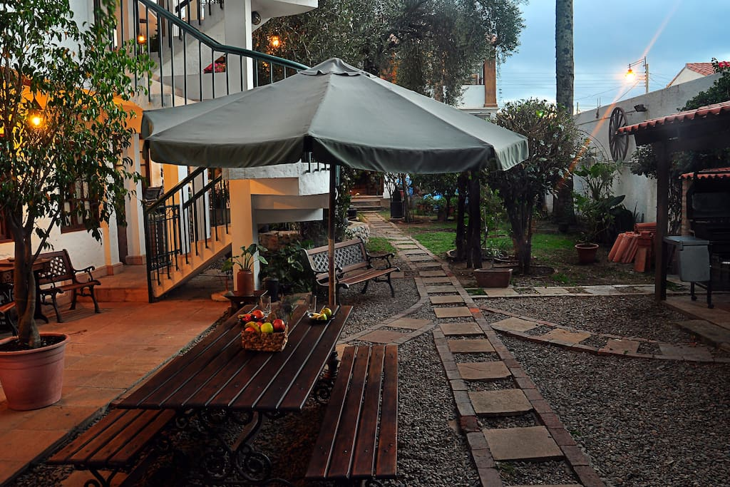 BBQ and garden area