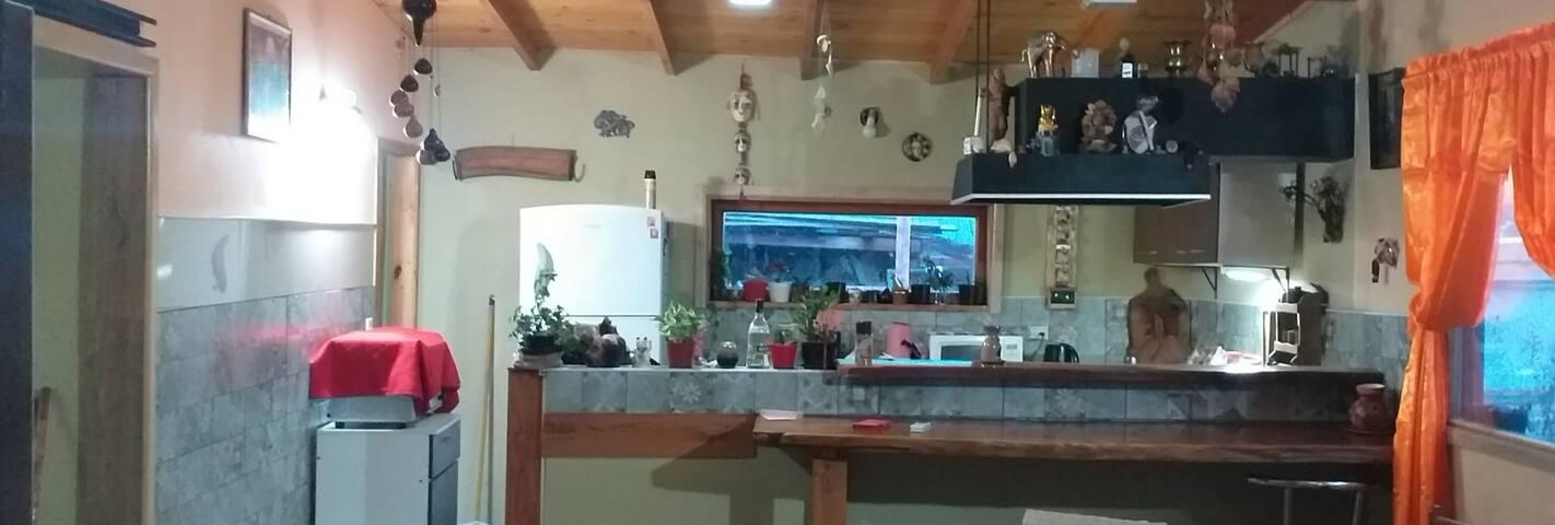 Casa familiar. Casa nueva con techos de maderas