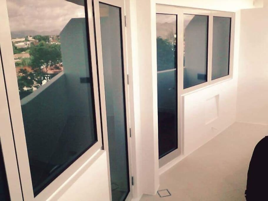 Double space balcony from living room and bedroom