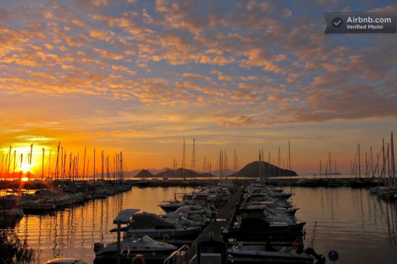 Yalikavak Port Marina at sunset