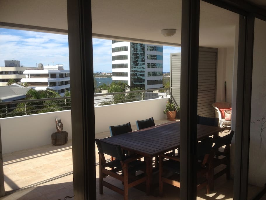 Large NE aspect balcony with own BBQ and views over the water and ocean.