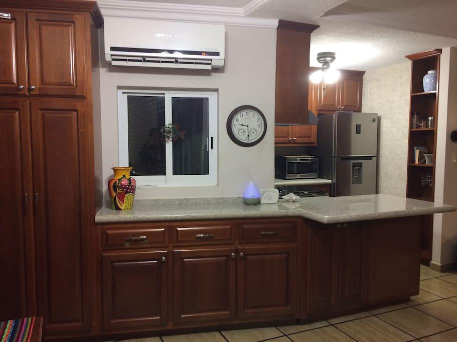 Newly renovatd kitchen with                new modern appliances.