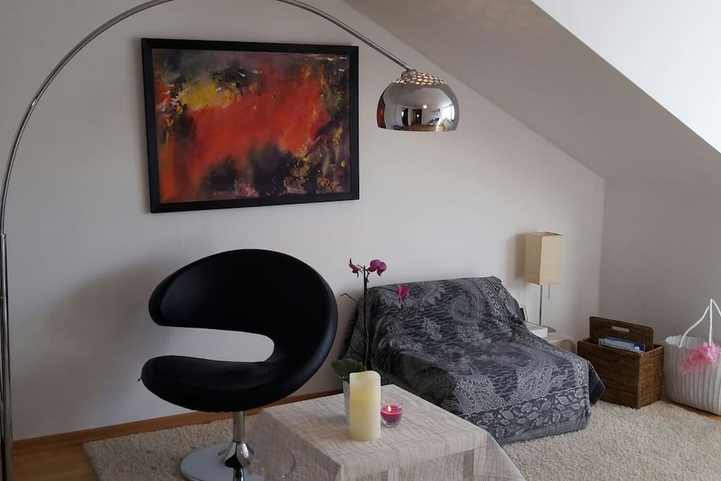 Living room with design lamp