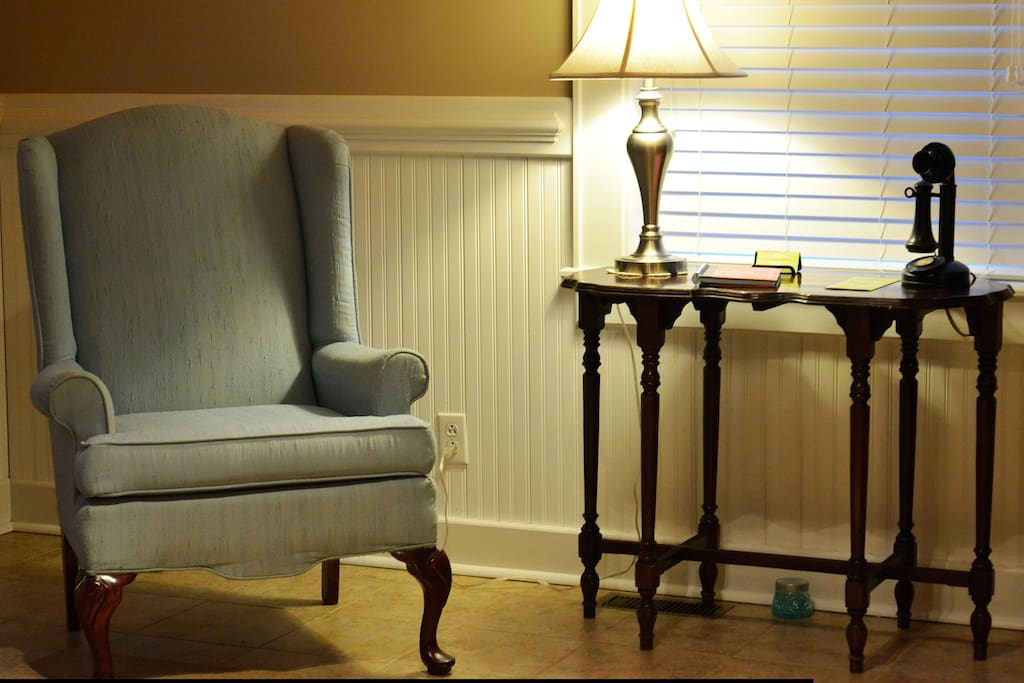 Enjoy a quiet sitting area for reading or just relaxing.