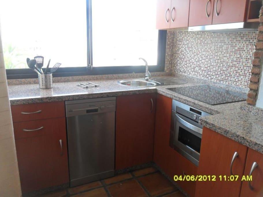 Cocina americana con horno y microondas en uno, lavavajillas y cocina de inducción.// American kitchen, oven and microwave in one , Wash disher and induction kitchen.