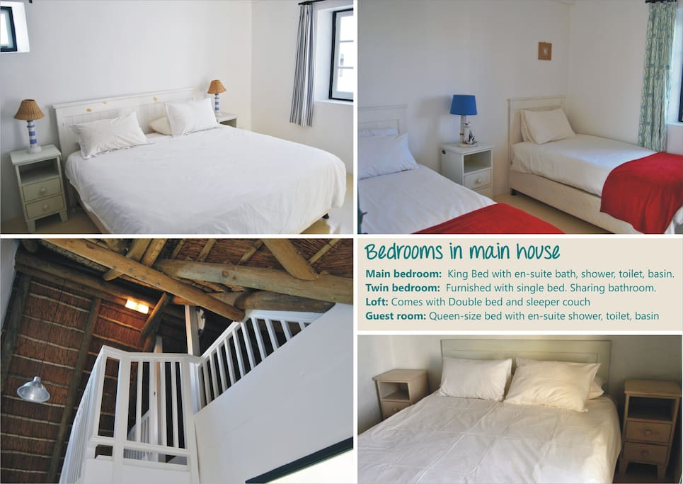 Bedrooms in main house
