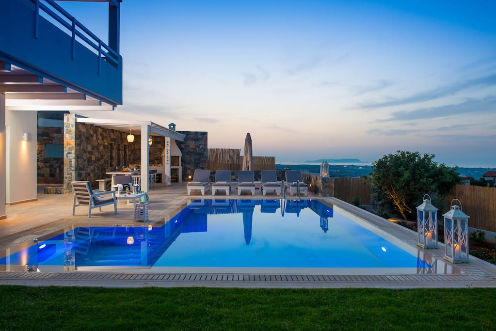 Villa Greece by sunset with big private pool, sunterace and BBQ area