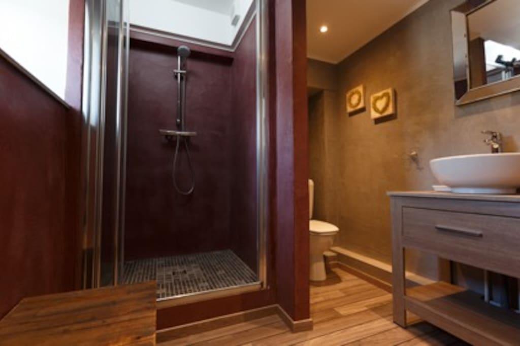 Salle de douche complètement rénovée avec linge fourni