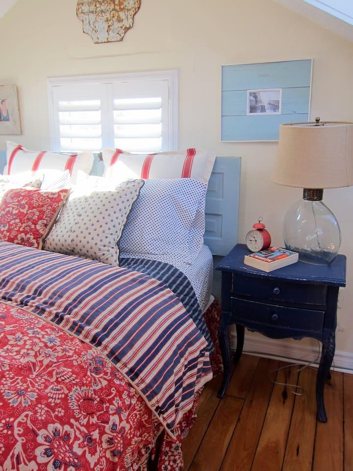 Second floor master bedroom with queen bed and ensuite bathroom