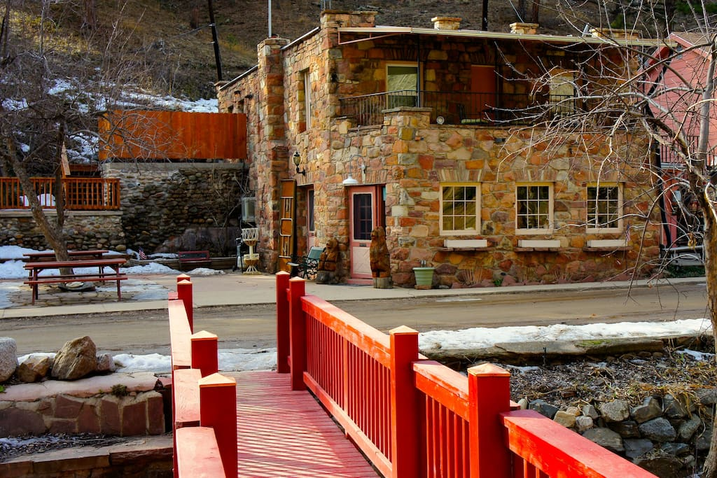 The main stone house at the A-Lodge (not the cabin)