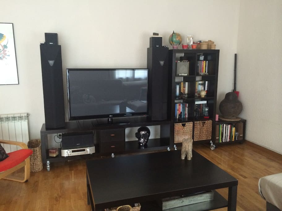 Living room with large TV and HIFI system