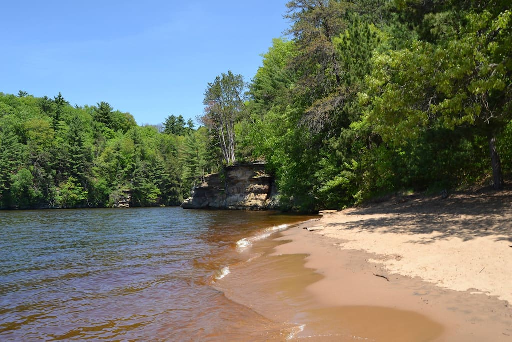 Beach at the end of a 3/4 mile walking trail on the Wisconsin river
