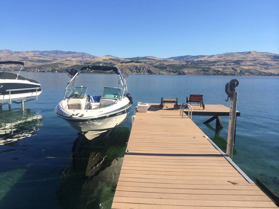 Large private dock with boat lift and jet ski lift. Max weight on lift 5,000 lbs