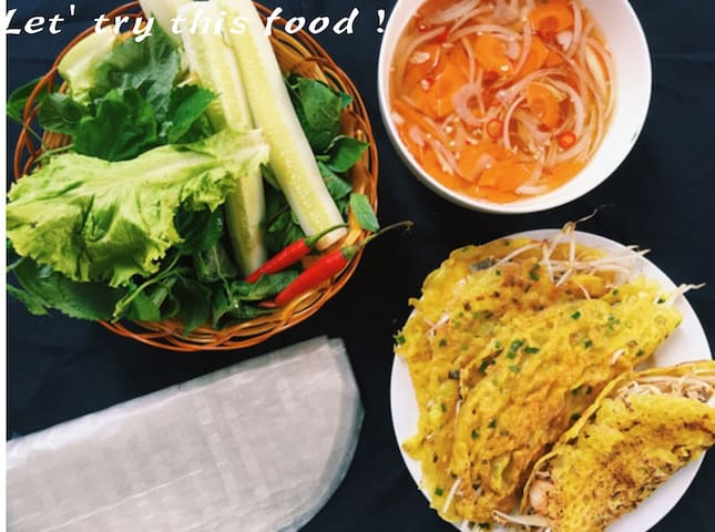 """If guest don't like to eat this dish (pancakes """" Bánh xèo Viet Nam""""). Please send request for me. I will make for you, cost fee 10 usd for 10 pieces to your room. It is very delicious. Let' try 1 time when you arrive in Viet Nam"""