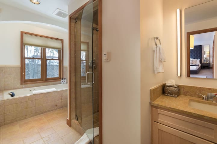 Master bathroom with steam shower and jetted tub