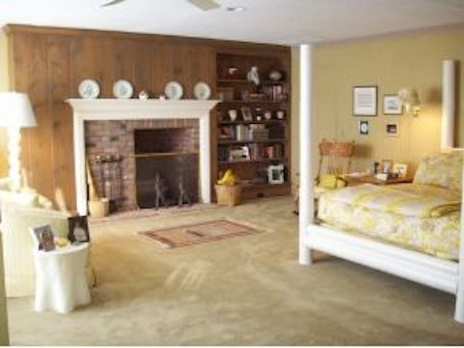 Master bedroom with no working fireplace