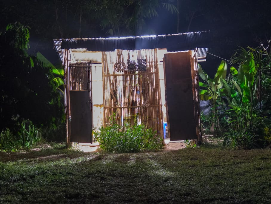 the solar shower and toilet