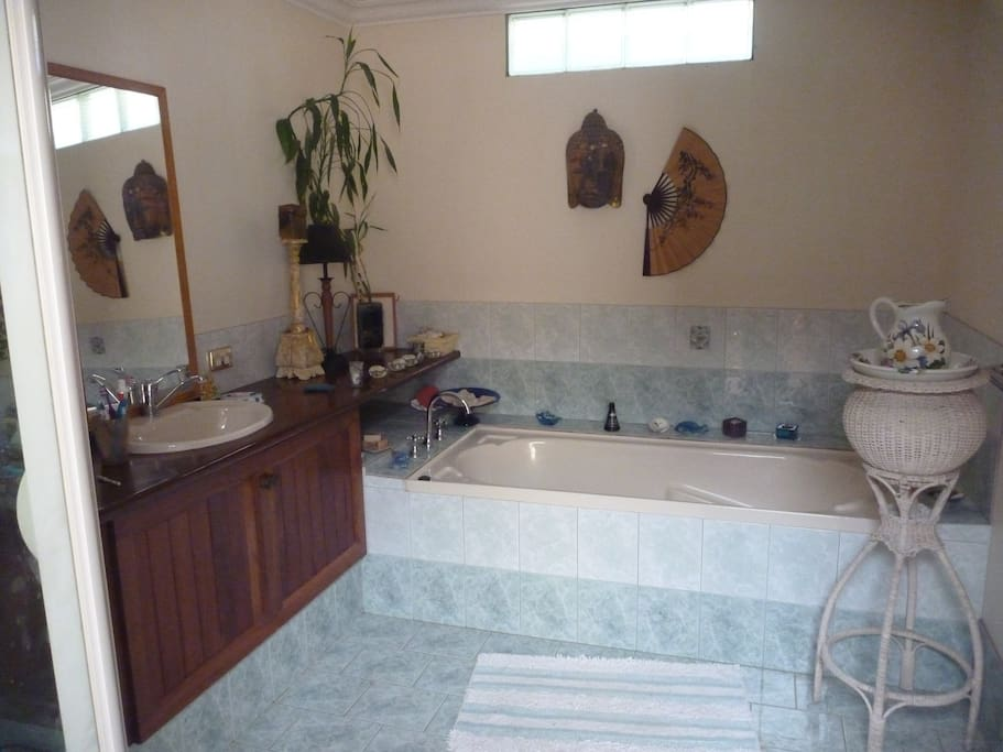This is the bathroom- separate shower and bath