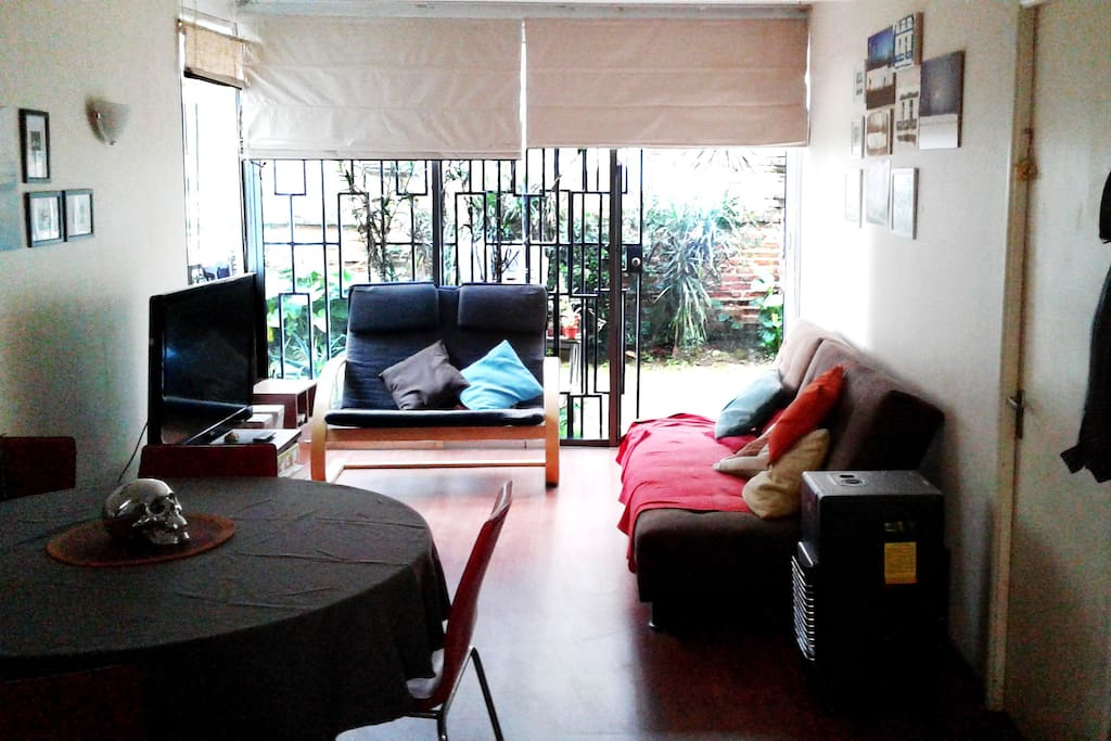 Living Comedor con tv cable, dvd y salida a patio interno.