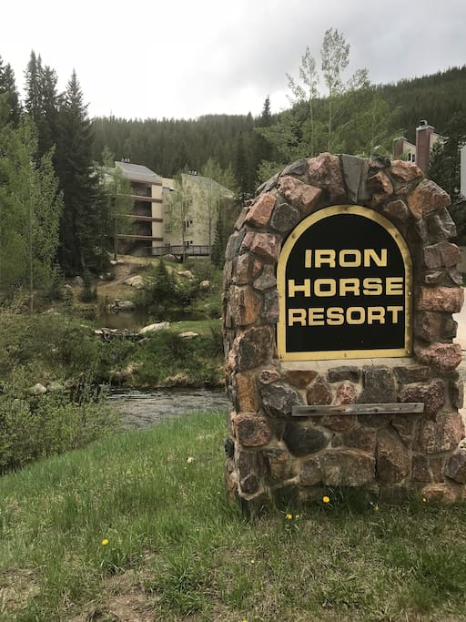 Entry to Iron Horse Resort. Condo Corridor is located within.