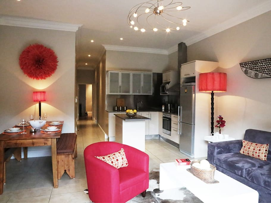 open plan lounge and kitchen apartment 1