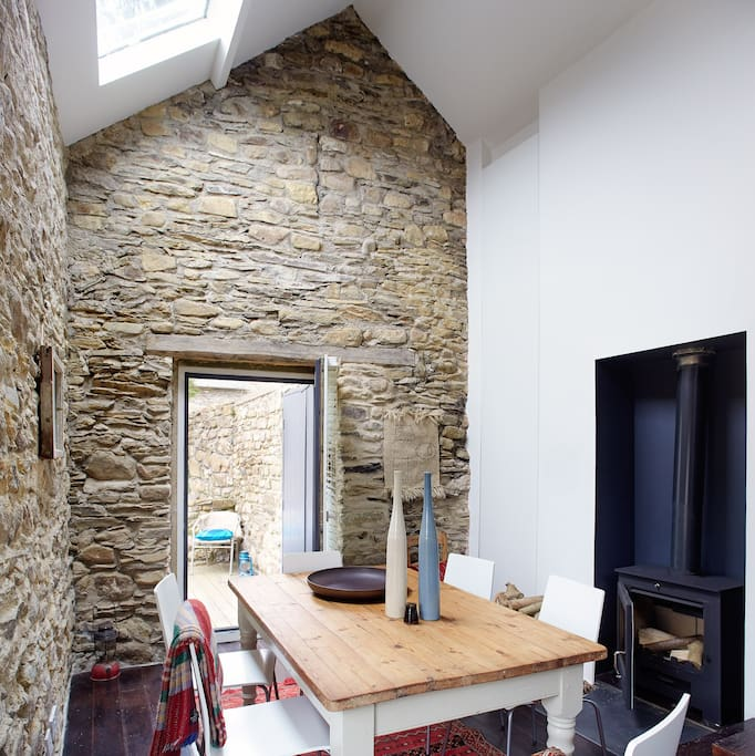 DINING AREA WITH WOOD BURING STOVE