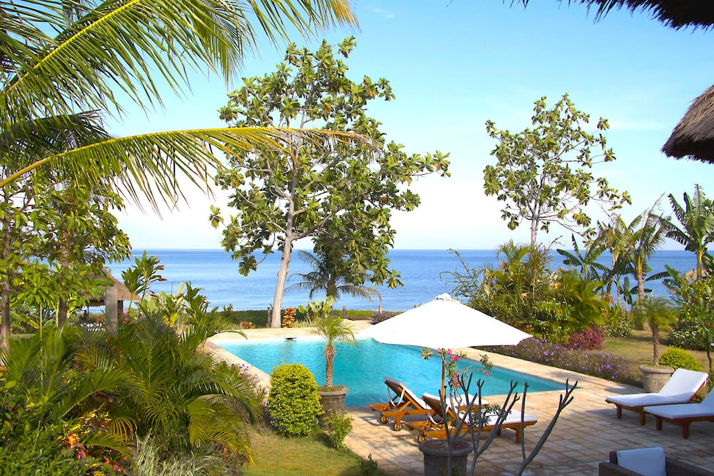view from the terrace: garden, private pool and the Bali Sea