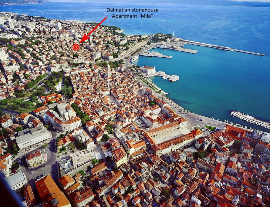 City of Split old town with apartment location.