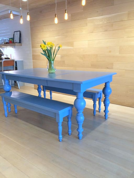(Somewhat) more formal dining, seating 6-8. Painted in bright Farrow & Ball Cook's Blue.