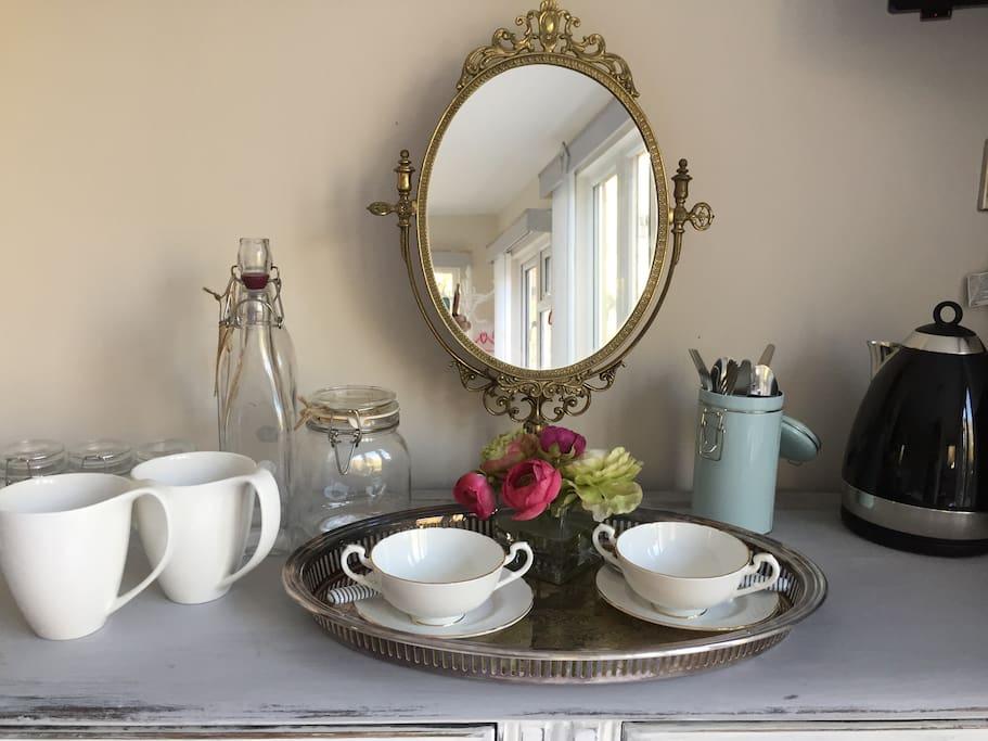 Unlimited  assorted Tea's & coffee & hot chocolate, orange juice & water.