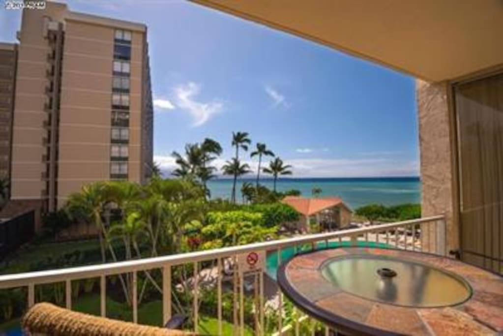 Lanai view with table and chairs
