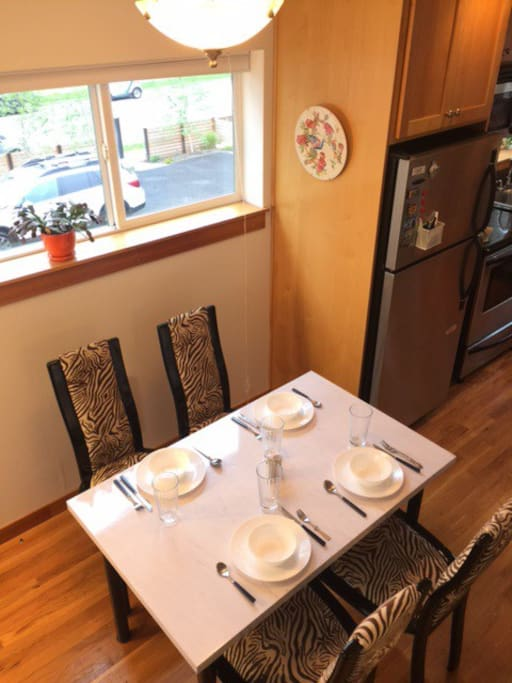 Dining room with full kitchen