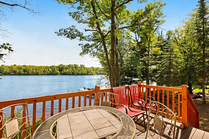 New listing! Lakefront cabin w/ wooden touches & incredible water views