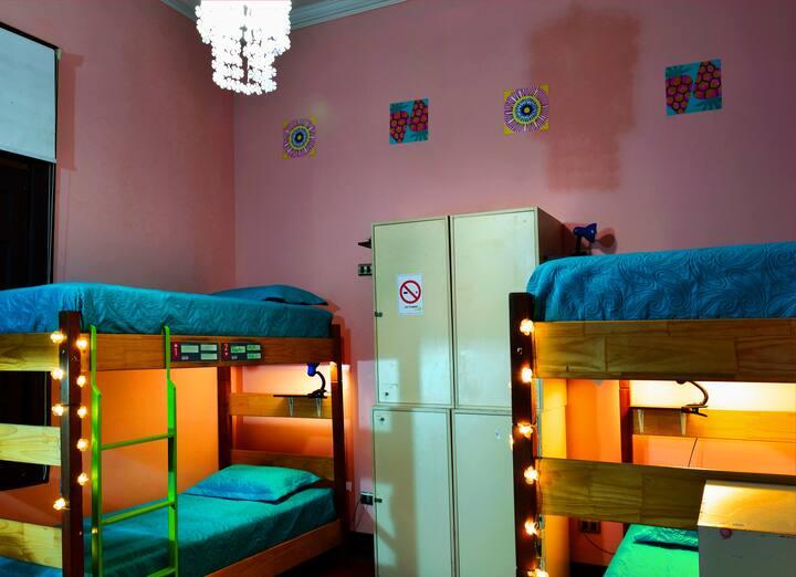 Cama individual en dormitorio femenino compartido