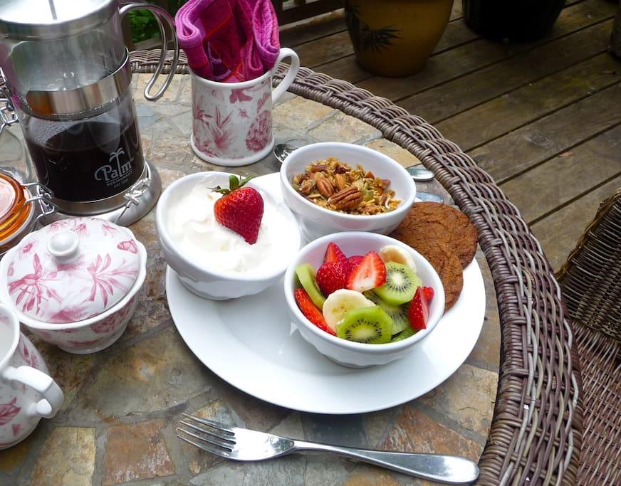 Outdoor patio breakfast.