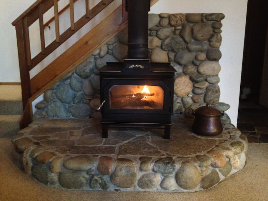 Beautiful wood stove on main floor for the great room. This carpet was replaced with brand new carpet in 2015.