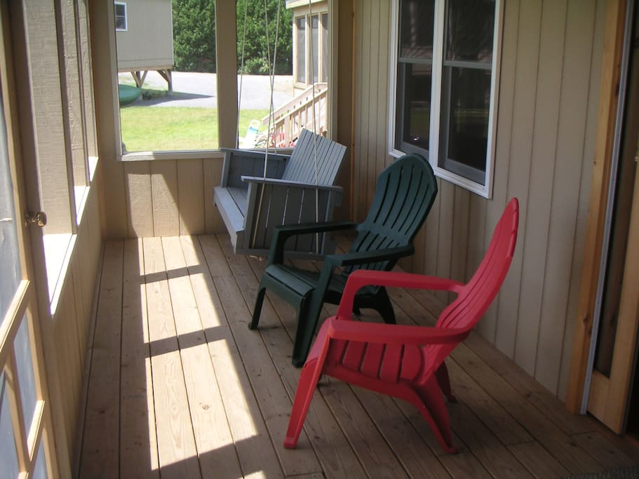 Screened Porch, with porch swing