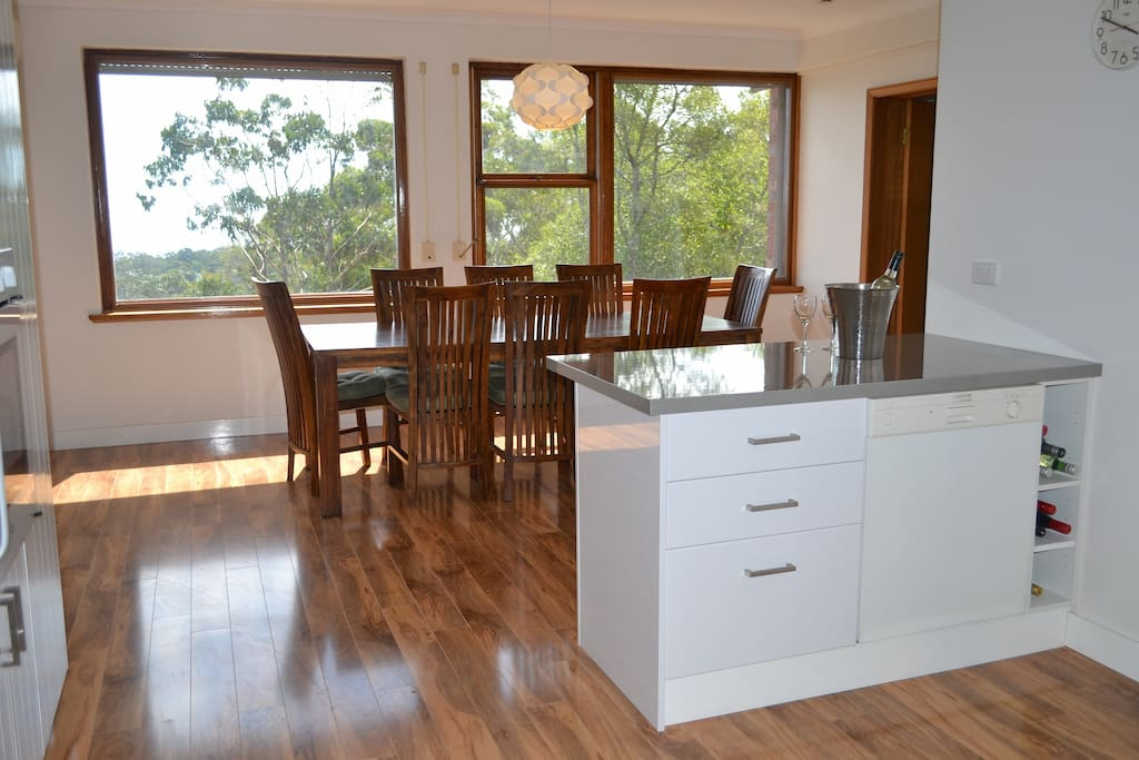 Dining area with great views across to the gulf