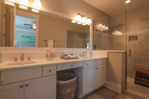 master bathroom with dual vanities