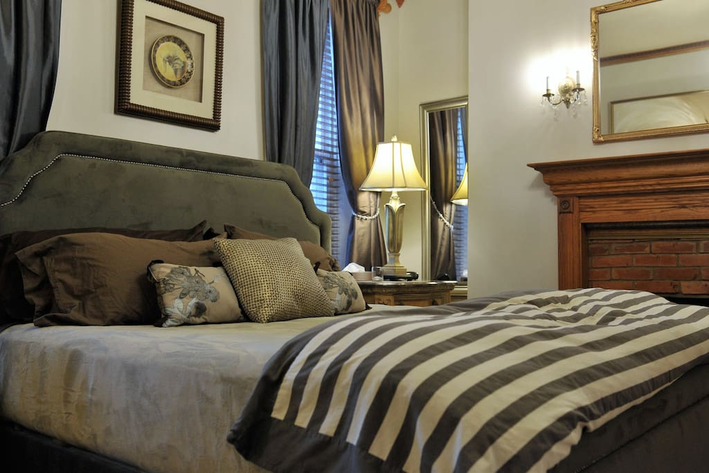 The King size bed is in the master bedroom with high end cotton linens, down pillows and down filled comforter.
