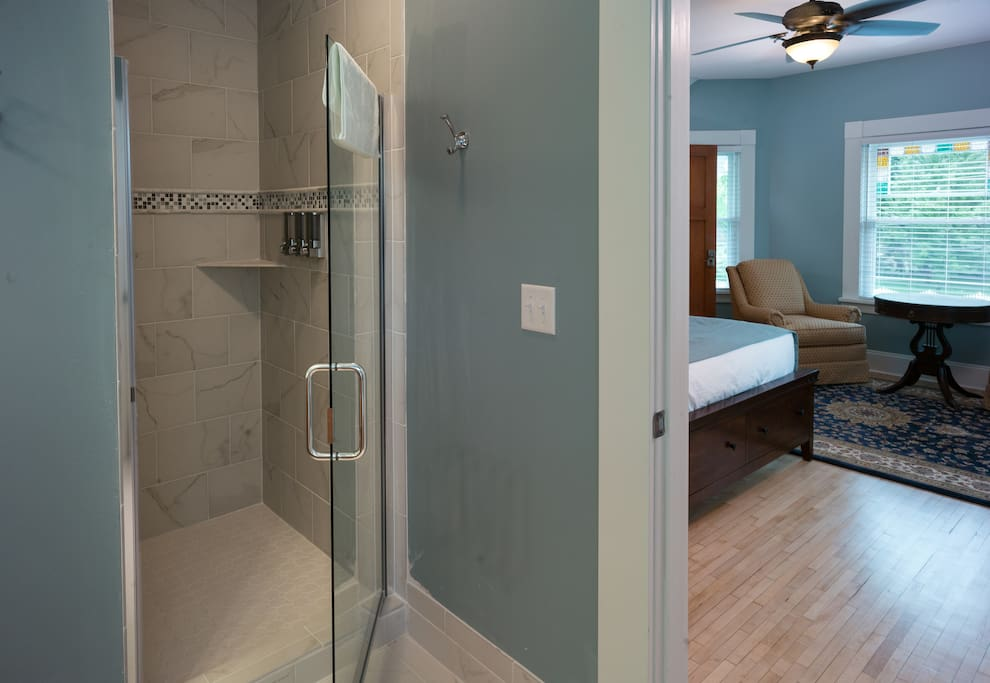 Large walk-in shower.