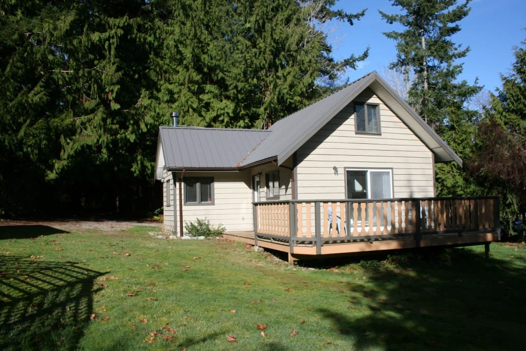 The cottage backs onto our small private forested area ....